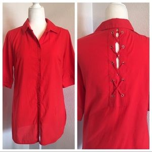 Chico's Red Orange Lace Up Back Button Up Top S